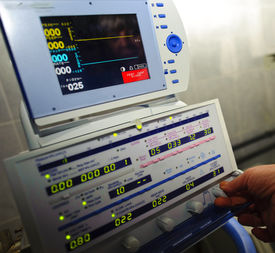 stock photo of medical equipment  - a medical equipment on blood transfusion is checked up before the use - JPG