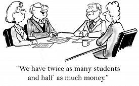 stock photo of mandates  - Cartoon of education supervisors talking - JPG