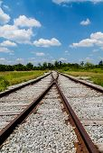 image of merge  - An Old railroad tracks merging and switching - JPG