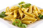 stock photo of pesto sauce  - Pasta with pesto sauce - JPG