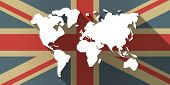 image of flags world  - Illustration of a UK flag icon with a world map - JPG