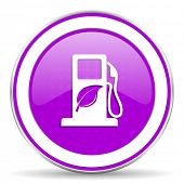 stock photo of biodiesel  - biofuel violet icon bio fuel sign