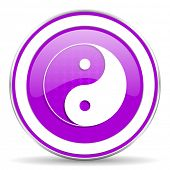 pic of ying-yang  - ying yang violet icon  - JPG