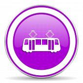 image of tram  - tram violet icon public transport sign - JPG