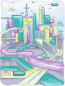 foto of long winding road  - Futuristic Illustration of a Modern City with Long and Winding Highways - JPG