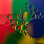 pic of drop oil  - Abstract color round oil drops on water surface - JPG