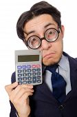 foto of cheater  - Funny man with calculator isolated on white - JPG