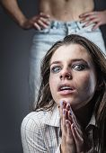 picture of abused  - Fear of woman victim of domestic violence and abuse - JPG