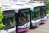 foto of parking lot  - Row of busses parked in the parking lot - JPG