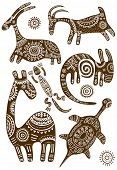 image of african animals  - Collection of vector African traditional patterns with animals  - JPG