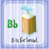 stock photo of letter b  - Flashcard letter B is for bread - JPG