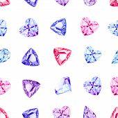 picture of precious stones  - Shiny precious stones watercolor seamless vector pattern - JPG