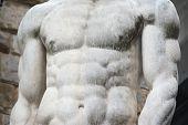 foto of hercules  - close up of Hercules statue chest in Piazza della Signoria Florence - JPG