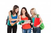 picture of united we stand  - three female students standing together on a white background - JPG