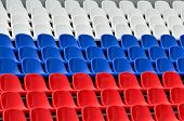pic of grandstand  - Empty grandstand with Seating in the colors of the Russian flag - JPG