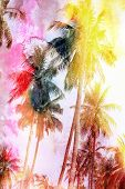 picture of palm  - bright watercolor tropical forest palms on island - JPG