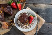 picture of tort  - overhead view on chocolate torte cake served on plate - JPG