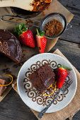pic of tort  - overhead view on chocolate torte cake served on plate - JPG