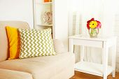 pic of comfort  - Modern interior with comfortable sofa in room - JPG
