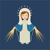 pic of mary  - Holy Mary design over blue background - JPG