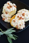 stock photo of biscuits gravy  - Biscuits and gravy made with sage sausage and Portuguese sausage - JPG