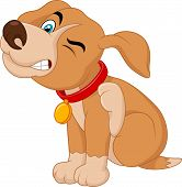 pic of pit-bull  - Vector illustration of Cartoon A young Pit Bull puppy scratching an itch - JPG