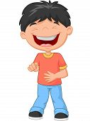 stock photo of laugh out loud  - Vector illustration of Little boy cartoon laughing and pointing - JPG