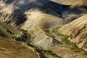 stock photo of jammu kashmir  - aerial view of Himalayan mountain landscape play of light and shadow Jammu and Kashmir Leh Ladakh India - JPG