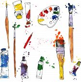 stock photo of paint palette  - vector set of art materials - JPG