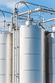 picture of silos  - Detail of chemical plant silos and pipes - JPG