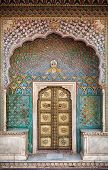 picture of gate  - Rose gate door in City Palace of Jaipur Rajasthan India - JPG