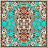 image of carpet  - Traditional ornamental floral paisley bandanna - JPG
