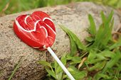 stock photo of valentine candy  - Candy valentines hearts on timber at the park - JPG