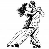 Постер, плакат: Kiss Man And Woman Dancing Couple Tango Retro Line Art