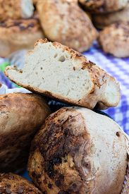 image of home-made bread  - home made fresh natural brown healthy bread - JPG