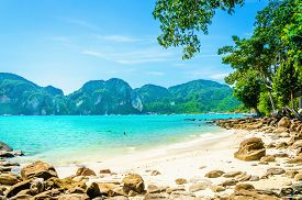 foto of blue  - Fabulous beach with exotic plants and white sand on a background of blue sky and azure blue sea - JPG