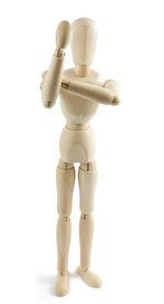 image of indecent  - Wooden mannequin shows indecent gesture on white background - JPG