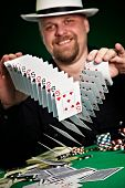 Man Skilfully Shuffles Playing Cards