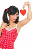 Beauty Girl With Red Heart-shaped Pepper