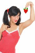 Beauty Girl With Red  Heart-shaped Strawberry
