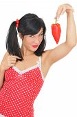 Beauty Girl With Red Pepper