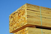 stock photo of 2x4  - Stacks of lumber in yard awaiting transportation to retail outlets - JPG