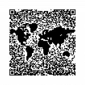 stock photo of qr-code  - QR Code pixels make a World Map - JPG