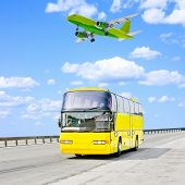foto of land-mass  - plane and bus - JPG