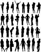 32 human shape silhouettes - vector