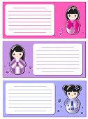 Cute Kokeshi stickers on notes or invitations. Space for your text. EPS10 vector format.