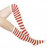 foto of panty hose  - woman legs in color red socks isolated on white - JPG