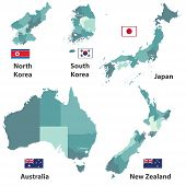 Vector Maps And Flags Of Japan, North Korea, South Korea, Australia And New Zealand With Administrat poster