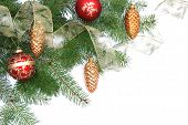 stock photo of christmas greetings  - christmas tree and ornaments decorations on white background - JPG