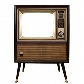 Vintage Television - Old Tv With Frame Screen Isolate On White With Clipping Path For Object, Retro  poster